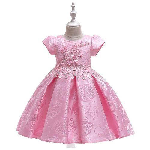 Pre Order - Awabox Floral Printed Half Sleeve Dress - Light Pink
