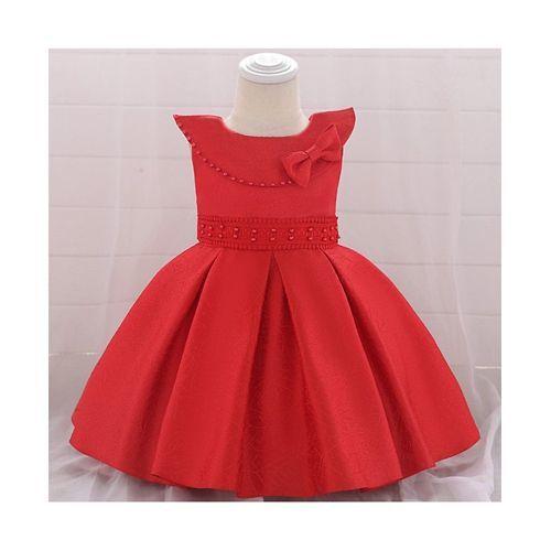 Awabox Red Sleeveless Self Design Applique Bow Dress