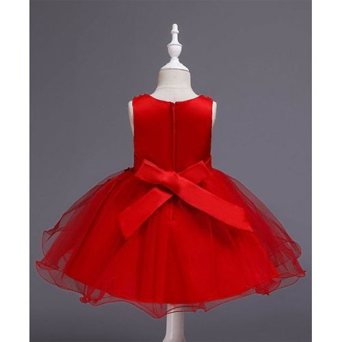 Pre Order - Awabox Sleeveless Floral Embroidered Pearl Detailed Ball Gown Flare Dress - Red