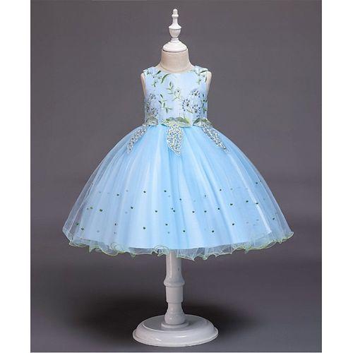 Pre Order - Awabox Flower Embroidered Yoke Sleeveless Dress - Blue