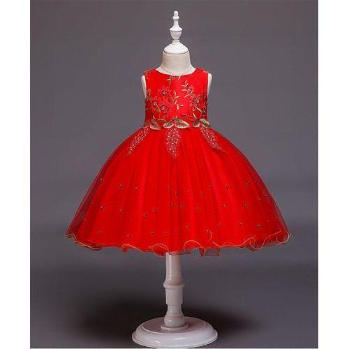 Pre Order - Awabox Flower Embroidered Yoke Sleeveless Dress - Red