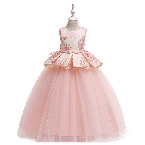 Pre Order - Awabox Flower Embellished Yoke Sleeveless Dress - Pink