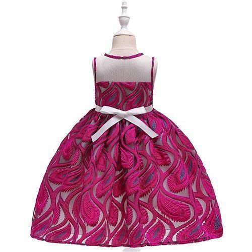 Pre Order - Awabox Sleeveless Paisley Embroidered Dress - Dark Pink