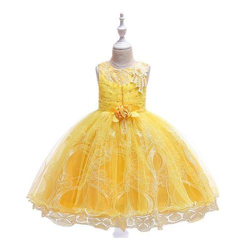 Pre Order - Awabox Flower Applique Sleeveless Dress - Yellow