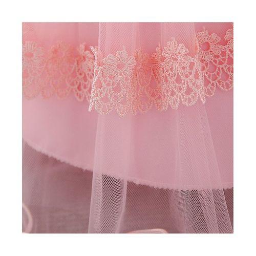 Awabox Pink Sleeveless Floral Lace Work Dress