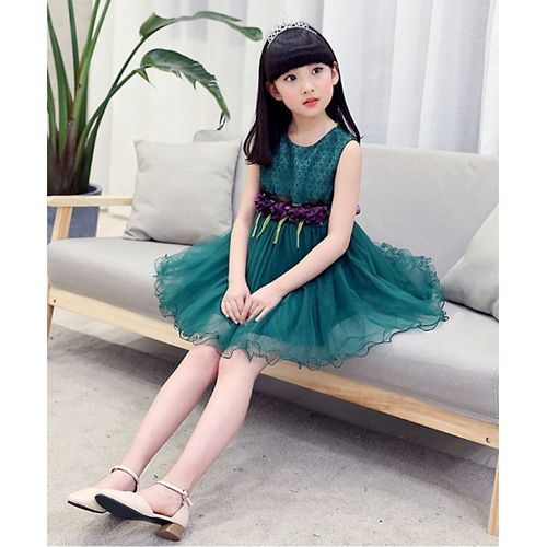Pre Order - Awabox Flower Decorated Sleeveless Frill Dress - Green