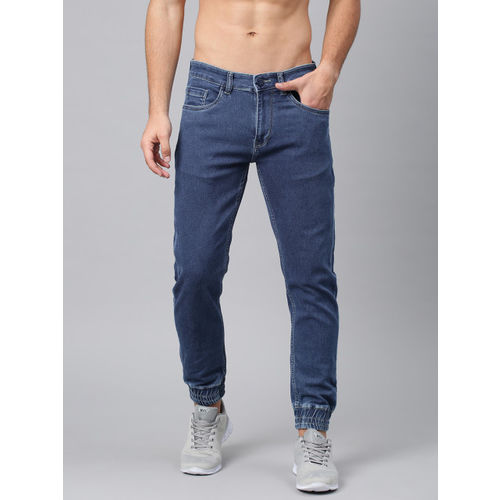 HRX by Hrithik Roshan Men Blue Jogger Mid-Rise Clean Look Stretchable Jeans