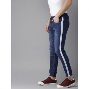 Campus Sutra Blue Jogger Mid-Rise Clean Look Stretchable Jeans
