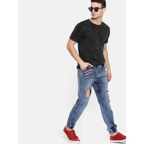 Kook N Keech Marvel Men Blue Mid-Rise Highly Distressed Jogger Jeans