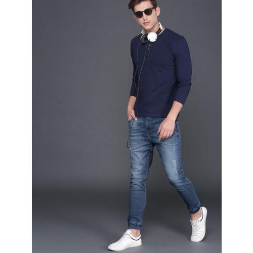 WROGN Men Blue Jogger Mid-Rise Low-Distress Jogger Jeans