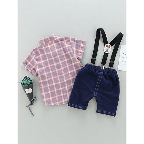 Pre Order - Awabox Checks Half Sleeves Shirt & Shorts Set With Suspenders - Pink