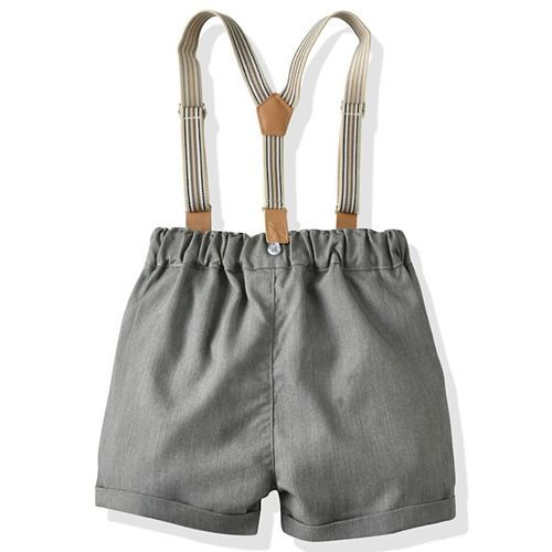 Pre Order - Awabox Half Sleeves Solid Shirt With Shorts & Suspenders - Green & Grey