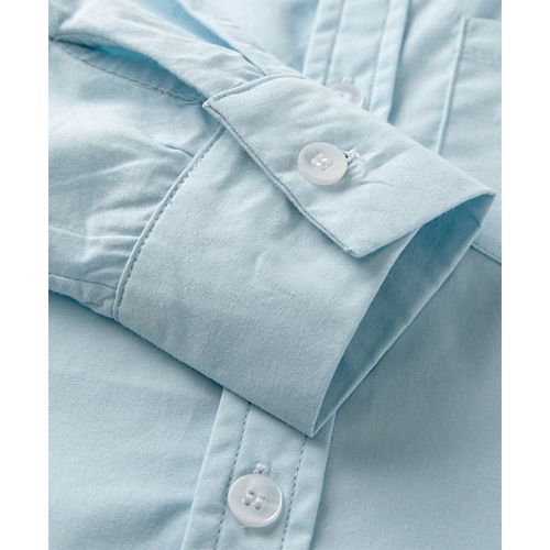 Pre Order - Awabox Solid Full Sleeves Shirt With Bow & Brace Pants Set - Light Blue