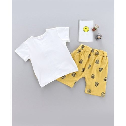 Awabox Mock Waistcoat Short Sleeves Tee With Attached Bow & Skull Print Short Set - Yellow