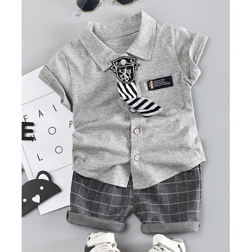 Pre Order - Awabox Half Sleeves Tee & Checked Shorts Set - Grey