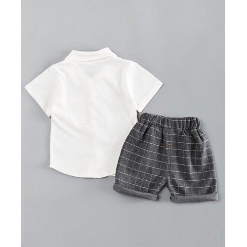Pre Order - Awabox Half Sleeves Tee & Checked Shorts Set - White