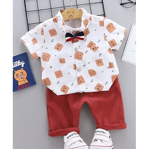 Pre Order - Awabox Half Sleeves Graham Cracker Print Shirt With Shorts - Orange & Red