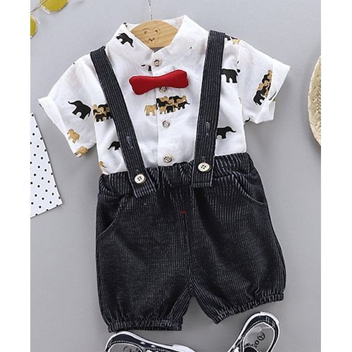 Pre Order - Awabox Half Sleeves Elephant Print Shirt With Suspender Shorts - White