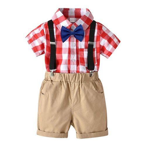 Awabox Checks Half Sleeves Shirt With Attached Bow & Suspenders Shorts Set - Red & Brown