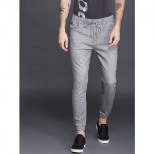 WROGN Men Grey Mid-Rise Clean Look Stretchable Jogger Jeans