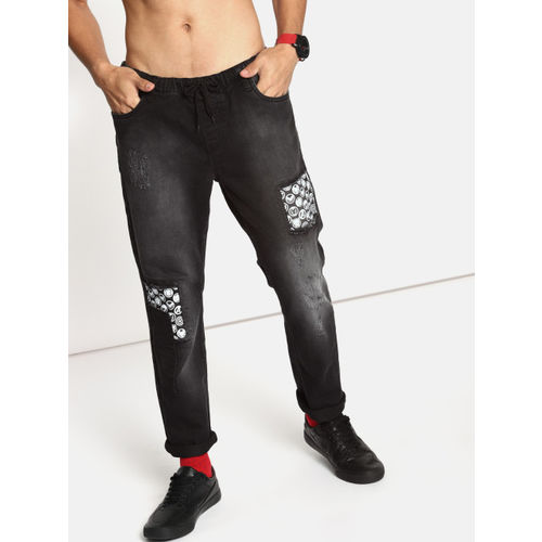 Kook N Keech Marvel Men Black Jogger Mid-Rise Low Distress Printed Stretchable Jeans