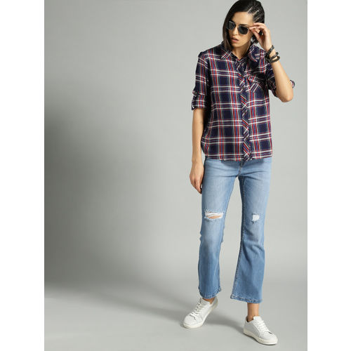 Roadster Women Navy & Maroon Regular Fit Checked Casual Shirt