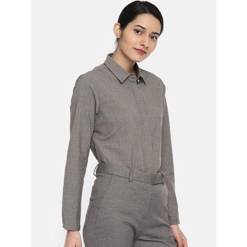 Van Heusen Woman Grey Checked Formal Shirt
