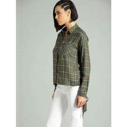Roadster Women Olive Green & White Regular Fit Checked Casual Shirt