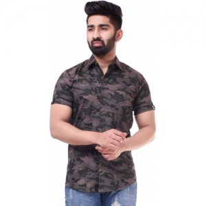 BASE 41 Camouflage Print Cotton  Shirt