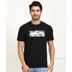 Levi's Black Cotton  Printed T-Shirt For Men