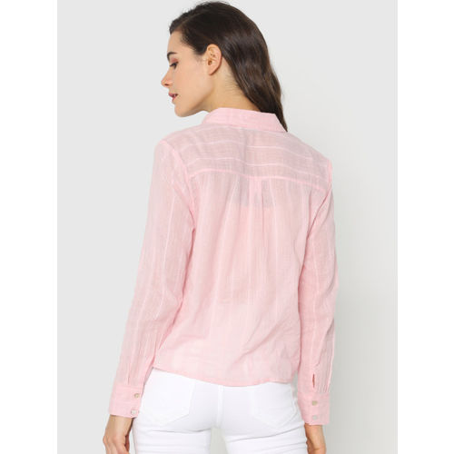 ONLY Women Pink Striped Casual Shirt