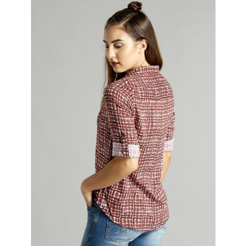 Roadster Women Burgundy & White Regular Fit Checked Casual Shirt