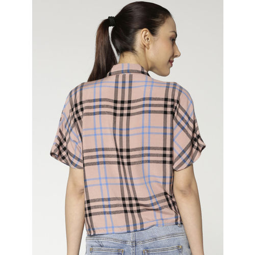 ONLY Women Pink & Black Regular Fit Checked Casual Shirt