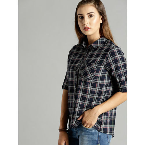 Roadster Women Navy Blue & Grey Regular Fit Checked Casual Shirt