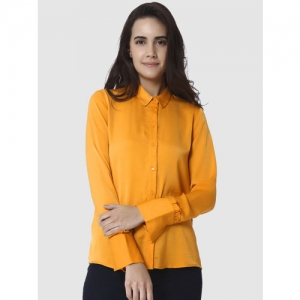 Vero Moda Women Mustard Yellow Regular Fit Solid Casual Shirt