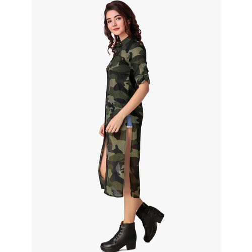 Texco Women Olive Green Regular Fit Camouflage Printed Longline Casual Shirt