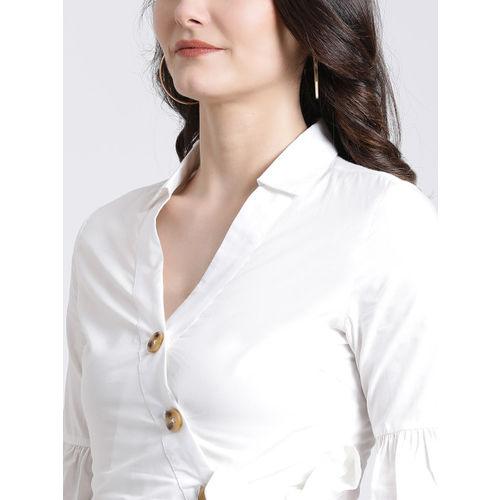 Kazo Women White Regular Fit Solid Casual Shirt