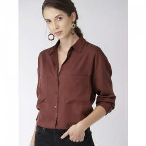FOREVER 21 Women Brown Regular Fit Solid Longline Casual Shirt