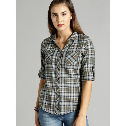 Roadster Women Olive Green & Navy Blue Slim Fit Checked Casual Shirt