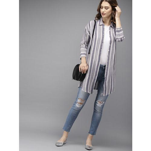 Moda Rapido Women White & Navy Blue Regular Fit Striped Casual Longline Shirt