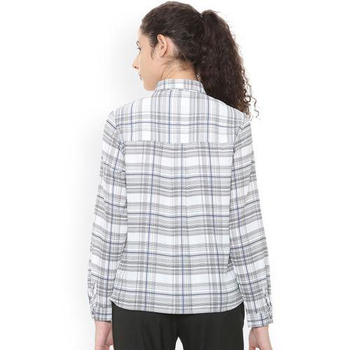 Van Heusen Woman Women Grey Regular Fit Checked Casual Shirt