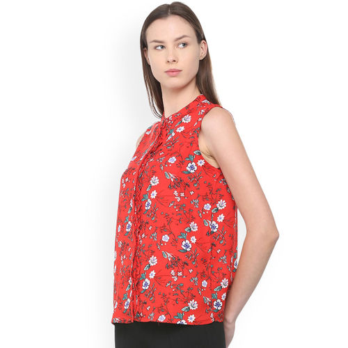 Van Heusen Woman Women Red Regular Fit Printed Casual Shirt