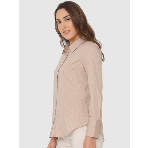Vero Moda Women Beige & White Regular Fit Striped Casual Shirt