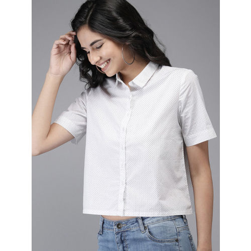 HERE&NOW Women White & Black Regular Fit Printed Cropped Casual Shirt