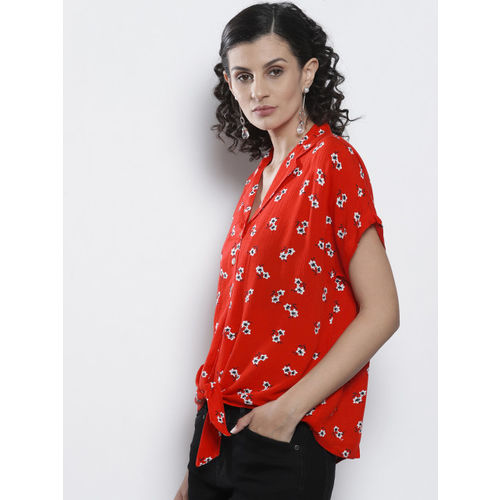 DOROTHY PERKINS Women Red & White Floral Print Casual Shirt