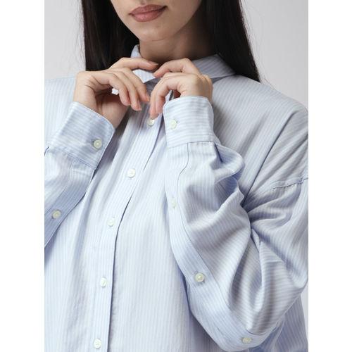 Levis Women Blue & White Regular Fit Striped Casual Shirt