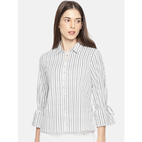 Fame Forever by Lifestyle Women White & Black Regular Fit Striped Casual Shirt