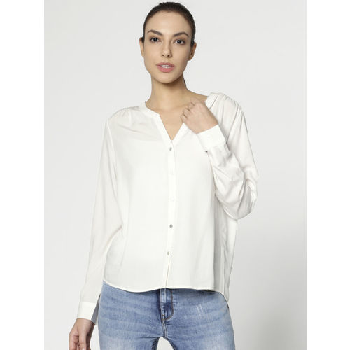 ONLY Women Off-White Tailored Fit Solid Casual Shirt