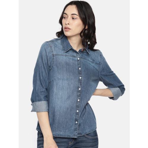 Vero Moda Women Blue Faded Denim Shirt