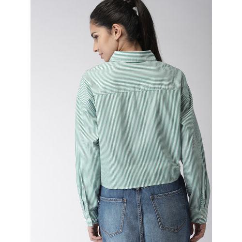 FOREVER 21 Women Green & White Regular Fit Striped Casual Shirt